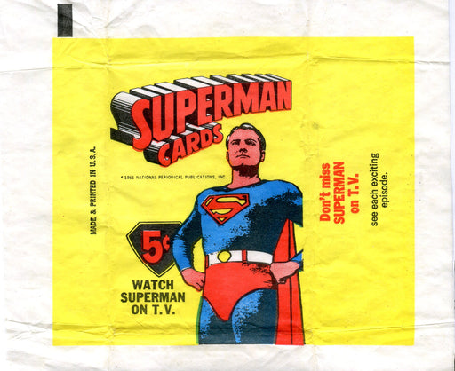 Superman 1966 Topps Vintage 5 Cent Bubble Gum Trading Card Wrapper   - TvMovieCards.com
