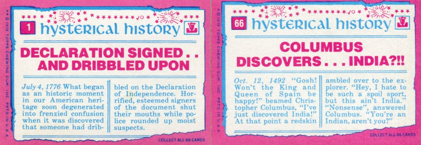 Hysterical History Vintage Sticker Card Set 66 Sticker Cards Topps 1976   - TvMovieCards.com