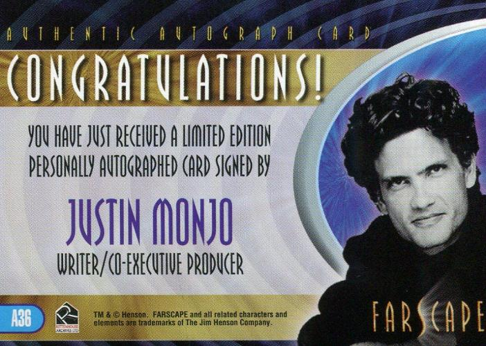 Farscape Through the Wormhole Writer Producer Justin Monjo Autograph Card A36   - TvMovieCards.com