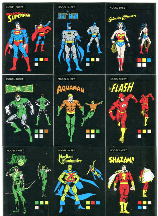 DC Comics Justice League Silver Foil Model Sheets Parallel Chase Card Set MS1-9   - TvMovieCards.com