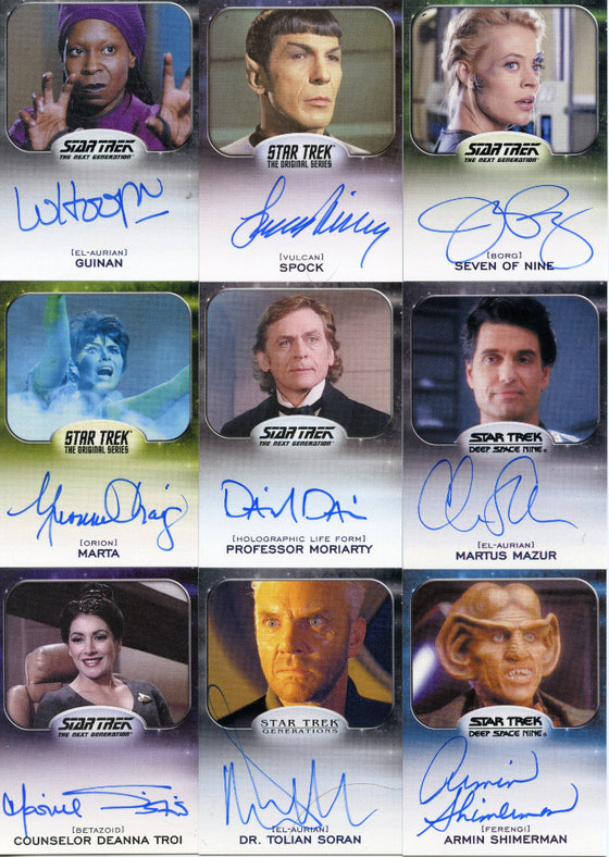 Star Trek Aliens Autograph Card Set 76 different Rittenhouse 2015