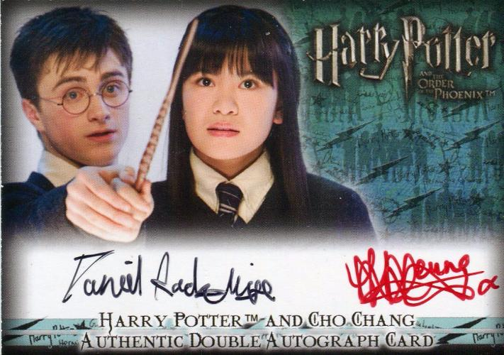 Harry Potter Order Phoenix Update Radcliffe Leung Double Autograph Card Front