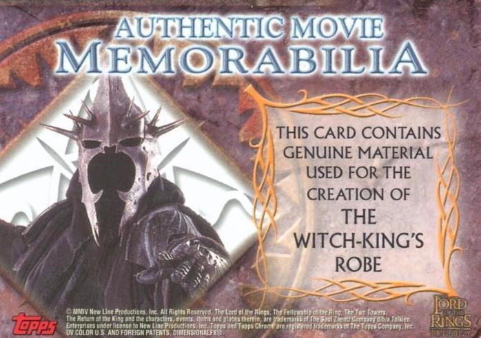 Lord of the Rings Trilogy Chrome The Witch-King's Robe Costume Card   - TvMovieCards.com
