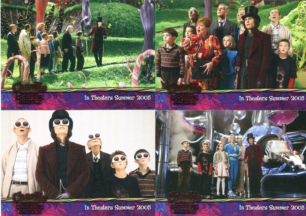 Charlie & Chocolate Factory Pink Foil Stamped Promo Card Set 4 Cards Artbox 2005   - TvMovieCards.com
