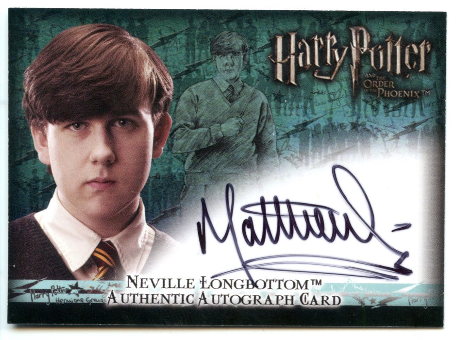 Harry Potter Order of Phoenix Matthew Lewis Neville Longbottom Autograph Card   - TvMovieCards.com