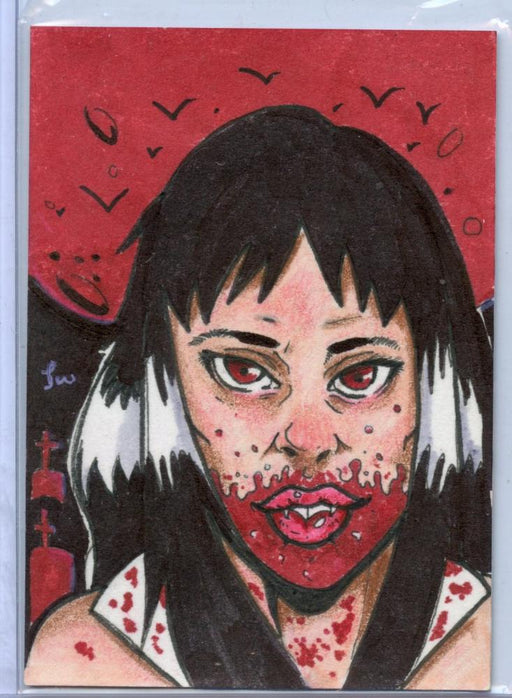 Vampirella New Series Sketch Card Sketchafex by Jon Wallace   - TvMovieCards.com
