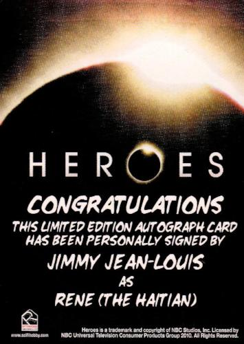 Heroes Archives Jimmy Jean-Louis as Rene Autograph Card   - TvMovieCards.com
