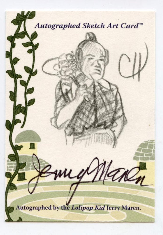 Wizard of Oz Sketch Card by Chris Henderson  Autograph Lollipop Kid Jerry Maren