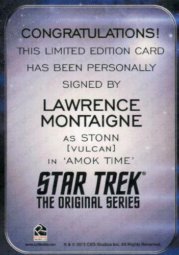 Star Trek Aliens Lawrence Montaigne as Stonn Autograph Card   - TvMovieCards.com