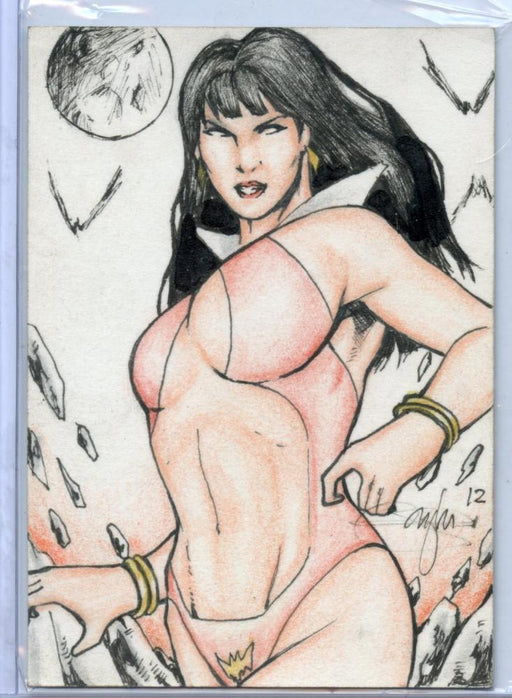 Vampirella New Series Sketch Card Sketchafex by Mark Q Marvida   - TvMovieCards.com