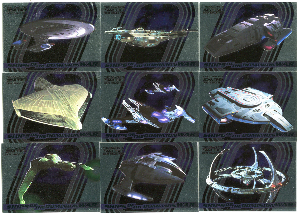 Star Trek Deep Space Nine DS9 Complete Ships of Dominion War 9 Card Set S1-S9
