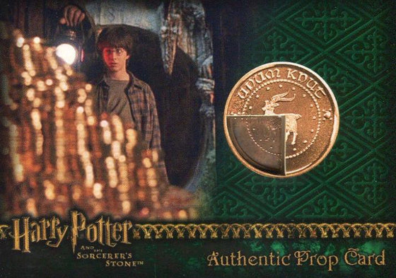 Harry Potter and the Sorcerer's Stone Dealer Incentive Wizard Coin: Bronze Knut Prop Card HP #20/40 Front