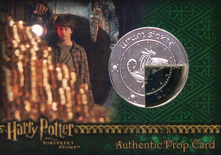 Harry Potter and the Sorcerer's Stone Dealer Incentive Wizard Coin: Silver Sickle Prop Card HP #24/40 Front