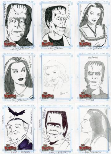 Munsters (2005) Autograph Sketch Card Lot 9 Cards Front