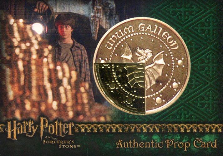 Harry Potter and the Sorcerer's Stone Dealer Incentive Wizard Coin: Gold Galleon Prop Card HP #21/40