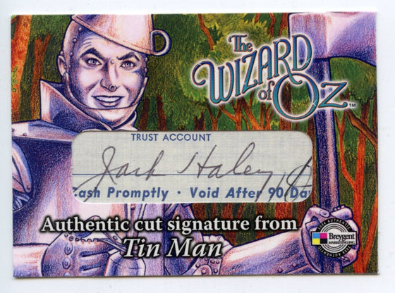 Wizard of Oz Autograph Card The Tin Man - Jack Haley -Cut Signature Card CSJH.
