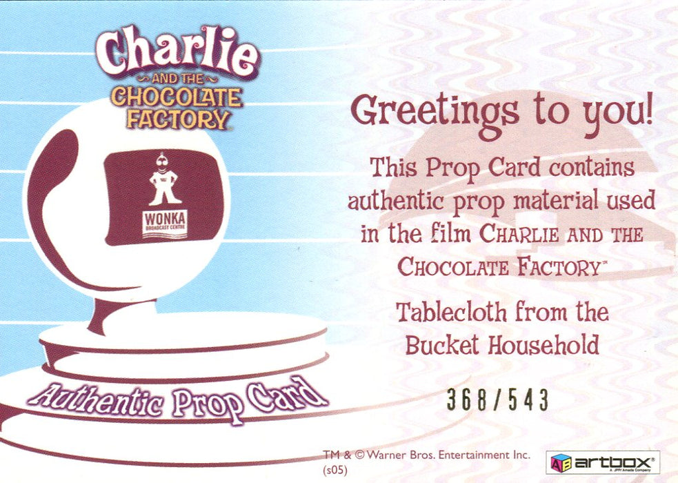 Charlie & Chocolate Factory Tablecloth Prop Card #368/543   - TvMovieCards.com