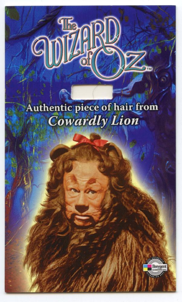 "Wizard of Oz Costume Card  HCLL  Cowardly Lion - Piece of Hair 3"" by 5"""