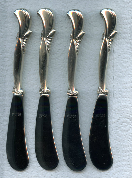 4 Waltz of Spring Paddle Butter Knives by Wallace 6-1/8 inch Sterling Silver kni   - TvMovieCards.com