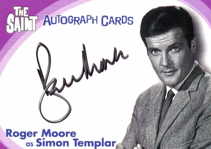 Saint The Very Best of The Saint Roger Moore Autograph Card SA1 Front