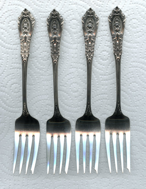4 Rose Point Salad Forks by Wallace Sterling Silver 6-3/8 Inch Fork 4pc   - TvMovieCards.com