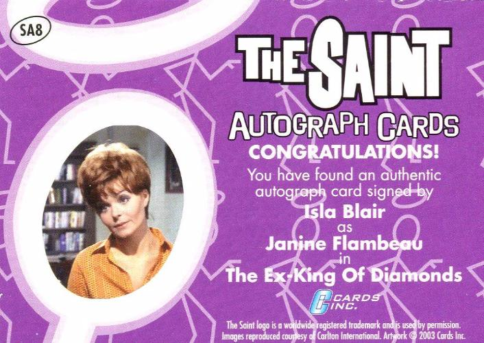 Saint The Very Best of The Saint Isla Blair Autograph Card SA8   - TvMovieCards.com