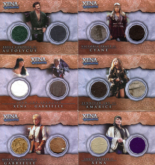 Xena Beauty and Brawn Double Costume Card Lot 6 Cards   - TvMovieCards.com