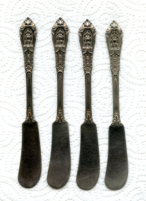 4 Rose Point Flat Butter Knives 5-5/8 Inch by Wallace Sterling Silver 4pc   - TvMovieCards.com