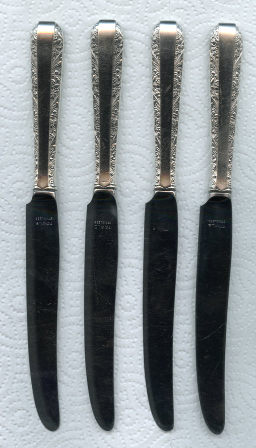 4 Candlelight French Blade Knives 8-3/4 Inch by Towle Sterling Silver Handle   - TvMovieCards.com