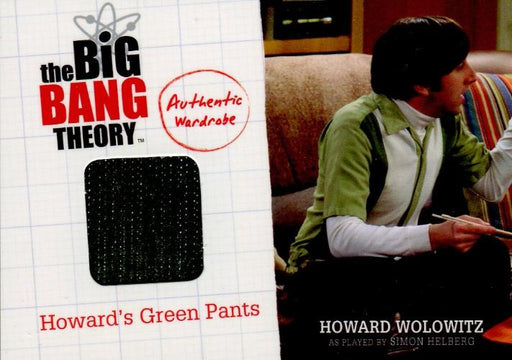 Big Bang Theory Seasons 1 & 2 Howard's Green Pants Wardrobe Costume Card M8   - TvMovieCards.com