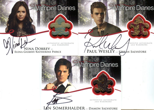 Vampire Diaries Season 2 Redemption Autograph Costume Card Set A1 - A3 #1/10   - TvMovieCards.com