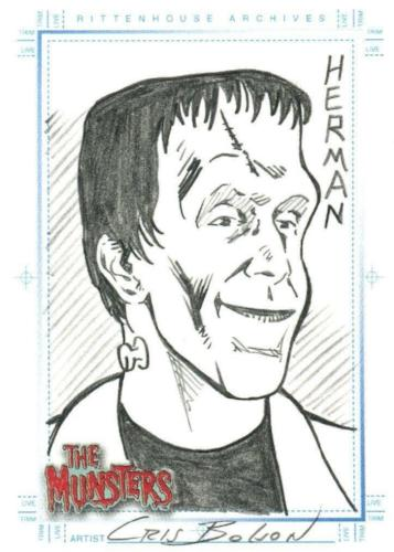Munsters (2005) Artist Chris Bolson Autograph Sketch Card Herman Munster Front
