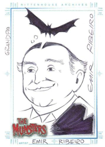 Munsters (2005) Artist Emil Ribeiro Autograph Sketch Card Grandpa Munster Front
