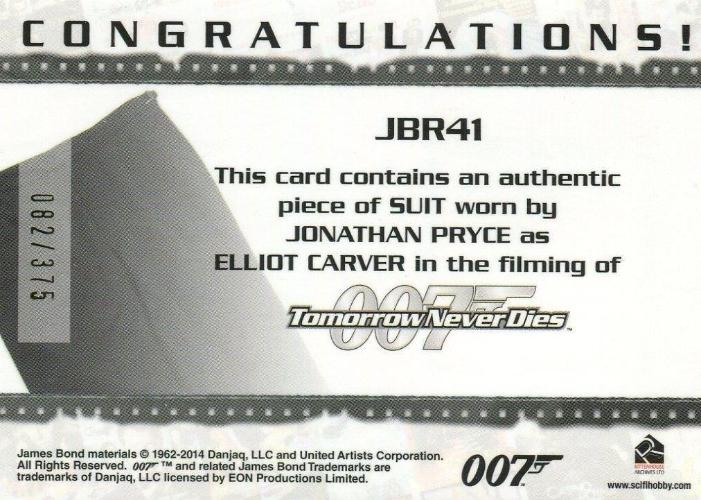 James Bond Archives 2014 Edition Elliot Carver's Suit Relic Card JBR41 #082/375   - TvMovieCards.com