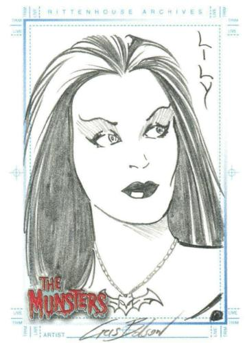 Munsters (2005) Artist Chris Bolson Autograph Sketch Card Lily Munster #2 Front