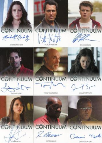 Continuum Seasons 1 & 2 Autograph Card Set 21 Cards Front1