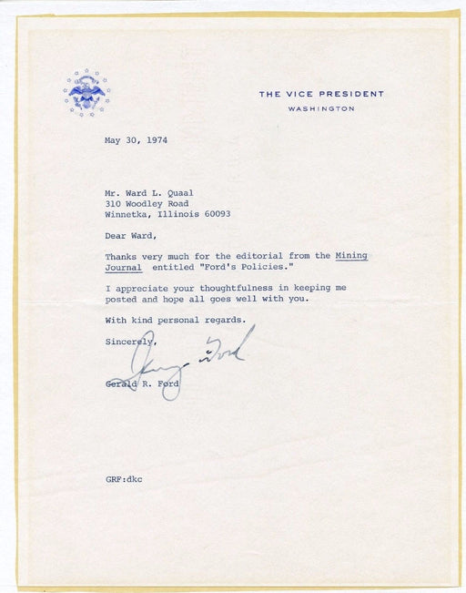 Original Signature Letter Vice President Gerald Ford May 30, 1974   - TvMovieCards.com