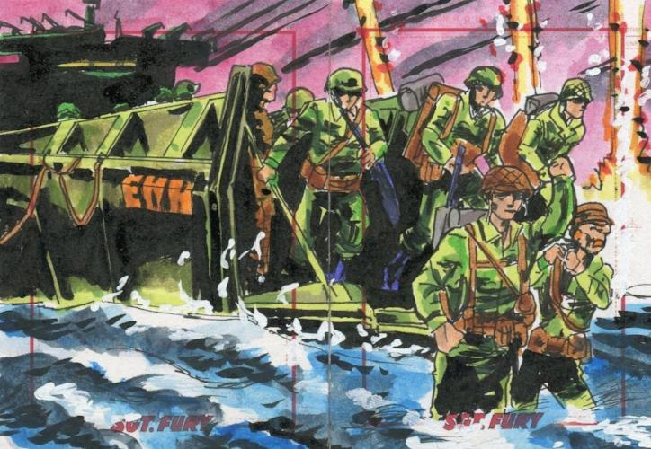 Sgt. Fury & His Howling Commandos 50th Ann. Darren Chandler 2 Panel Sketch Card Front