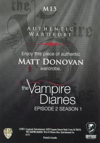 Vampire Diaries Season One Matt Donovan Wardrobe Costume Card M15   - TvMovieCards.com