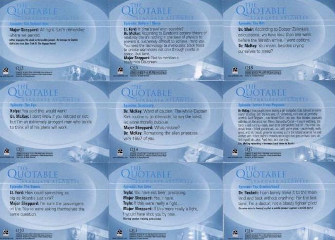Stargate Atlantis Season One Quotable Chase Card Set   - TvMovieCards.com
