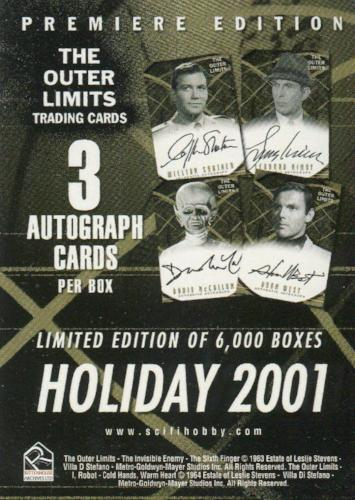 Outer Limits Premiere Edition Promo Card (3 Autograph Cards Back)   - TvMovieCards.com