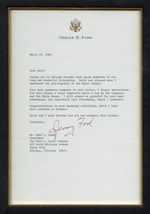 Original Signature Letter Former President Gerald Ford March 19, 198   - TvMovieCards.com