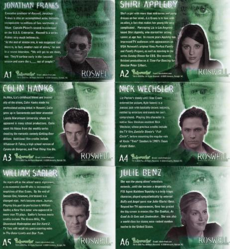 Roswell Season One Autograph Card Set 6 Cards   - TvMovieCards.com