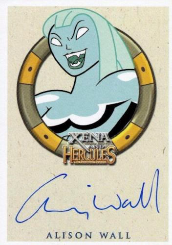 Xena & Hercules Animated Adventures Alison Wall Tethys Autograph Card Front