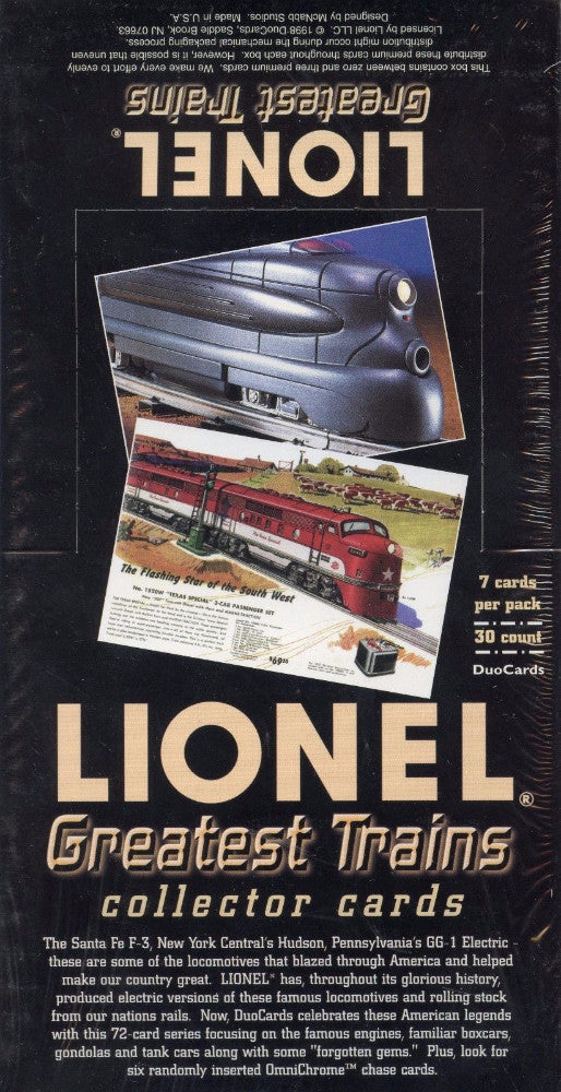 Lionel Greatest Trains Card Box