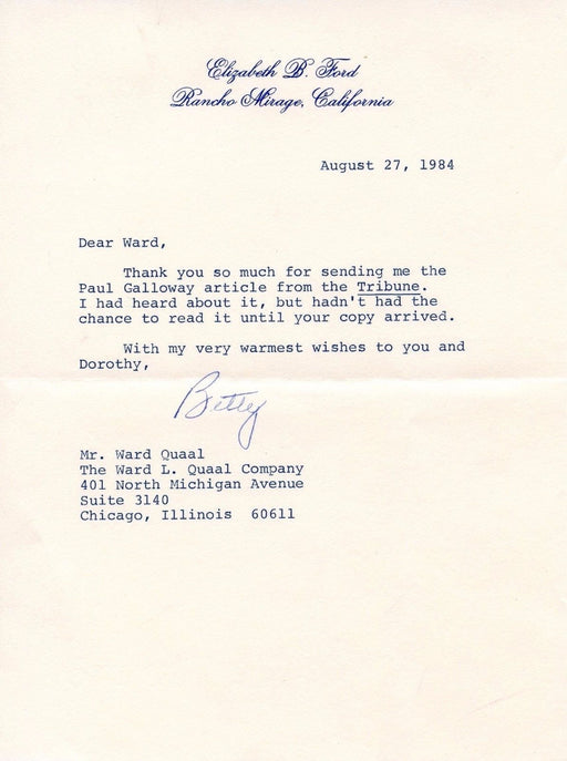 Original Signature Letter Former First Lady Betty Ford August 27, 19   - TvMovieCards.com