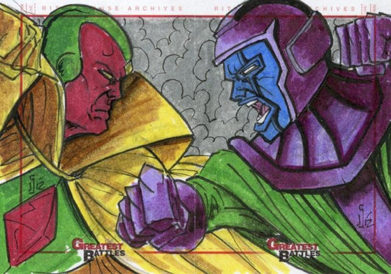 Marvel Greatest Battles 2 Panel Autograph Sketchafex Sketch Card by Jamie Snell Front