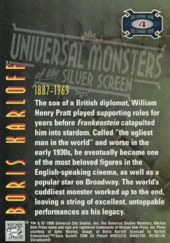 Universal Monsters of the Silver Screen Bio-Chrome Chromium Chase Card #4   - TvMovieCards.com