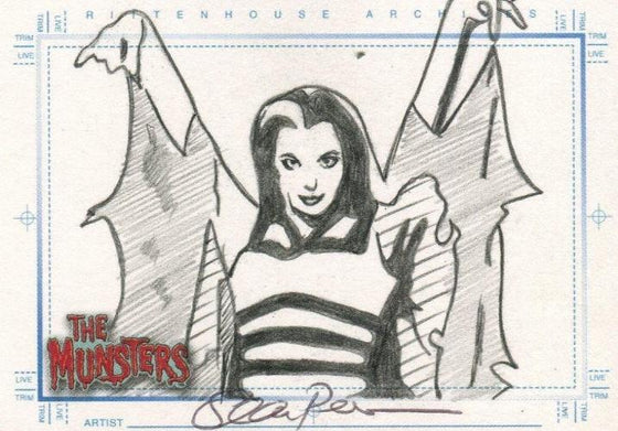 Munsters (2005) Artist Sean Pence Autograph Sketch Card The Lily Munster Front