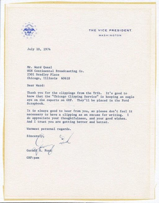 Original Signature Letter Vice President Gerald Ford July 10, 1974   - TvMovieCards.com